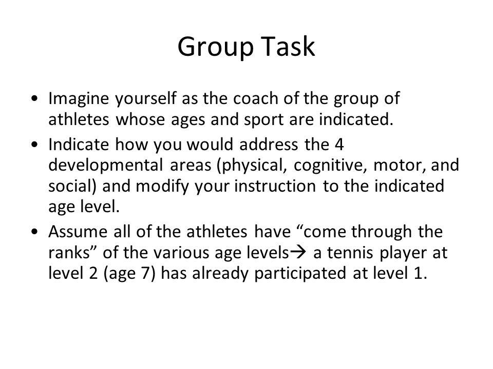 Group Task Imagine yourself as the coach of the group of athletes whose ages and sport are indicated. Indicate how you would address the 4 development