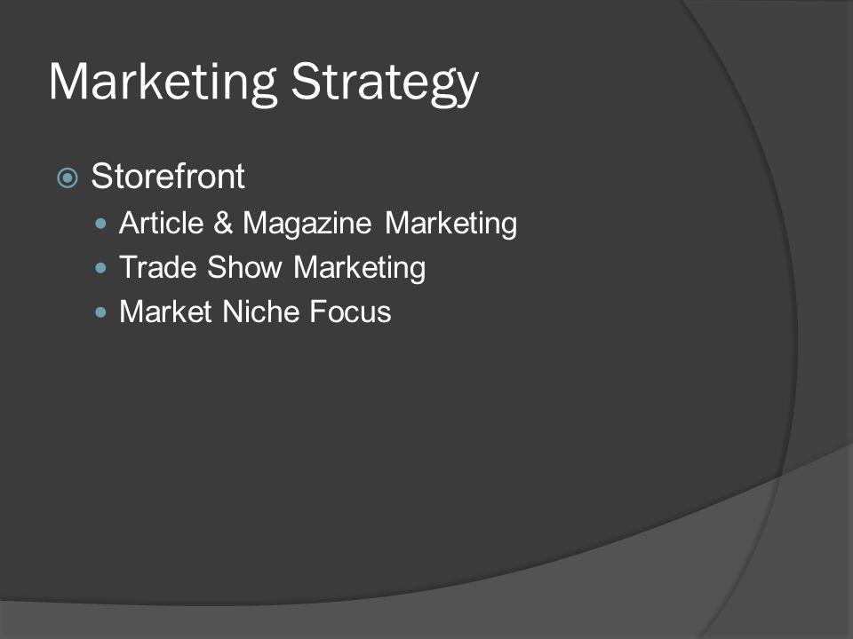 Marketing Strategy Storefront Article & Magazine Marketing Trade Show Marketing Market Niche Focus