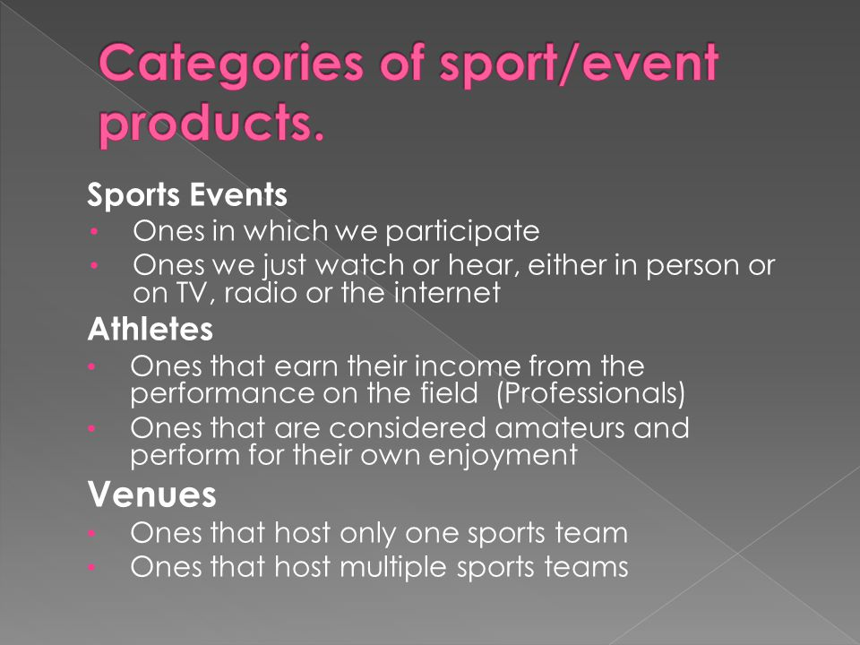 Sports Events Ones in which we participate Ones we just watch or hear, either in person or on TV, radio or the internet Athletes Ones that earn their income from the performance on the field (Professionals) Ones that are considered amateurs and perform for their own enjoyment Venues Ones that host only one sports team Ones that host multiple sports teams