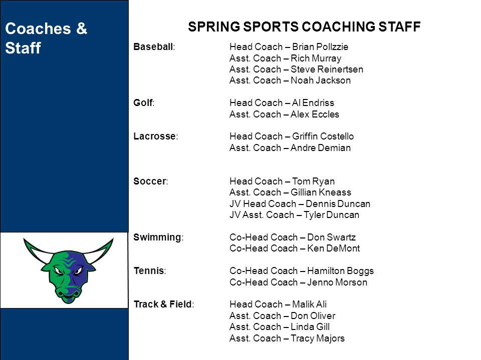 Coaches & Staff SPRING SPORTS COACHING STAFF Baseball:Head Coach – Brian Pollzzie Asst.