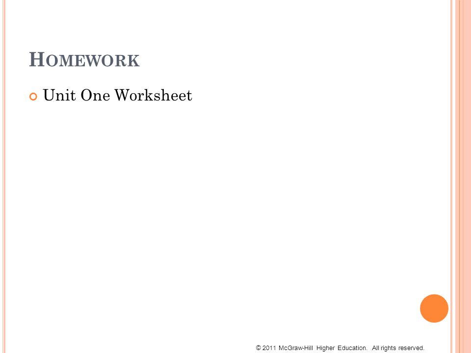 © 2011 McGraw-Hill Higher Education. All rights reserved. H OMEWORK Unit One Worksheet