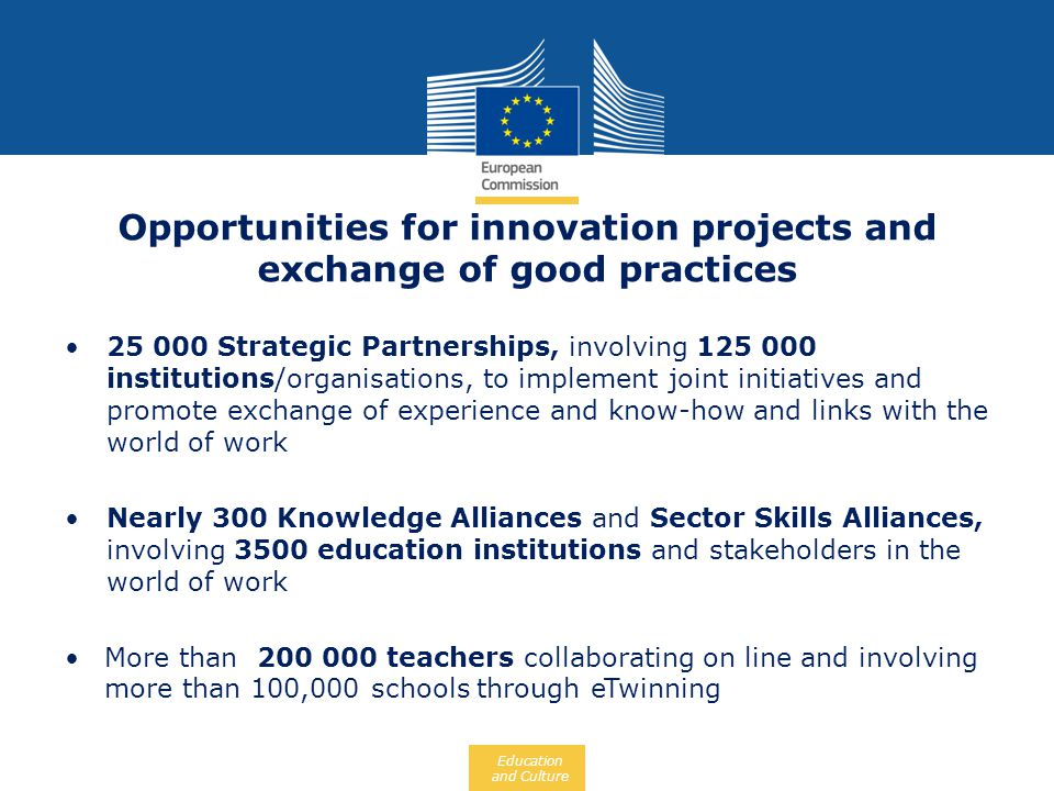 Education and Culture Opportunities for innovation projects and exchange of good practices 25 000 Strategic Partnerships, involving 125 000 institutio