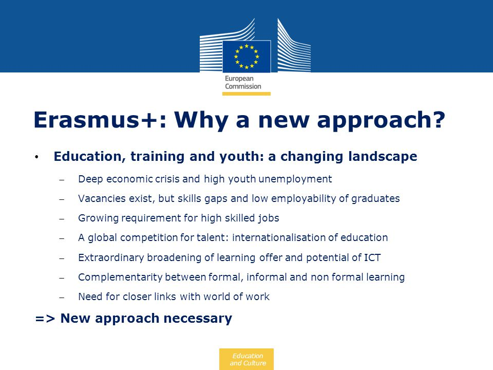 Education and Culture Erasmus+: Why a new approach? Education, training and youth: a changing landscape Deep economic crisis and high youth unemployme