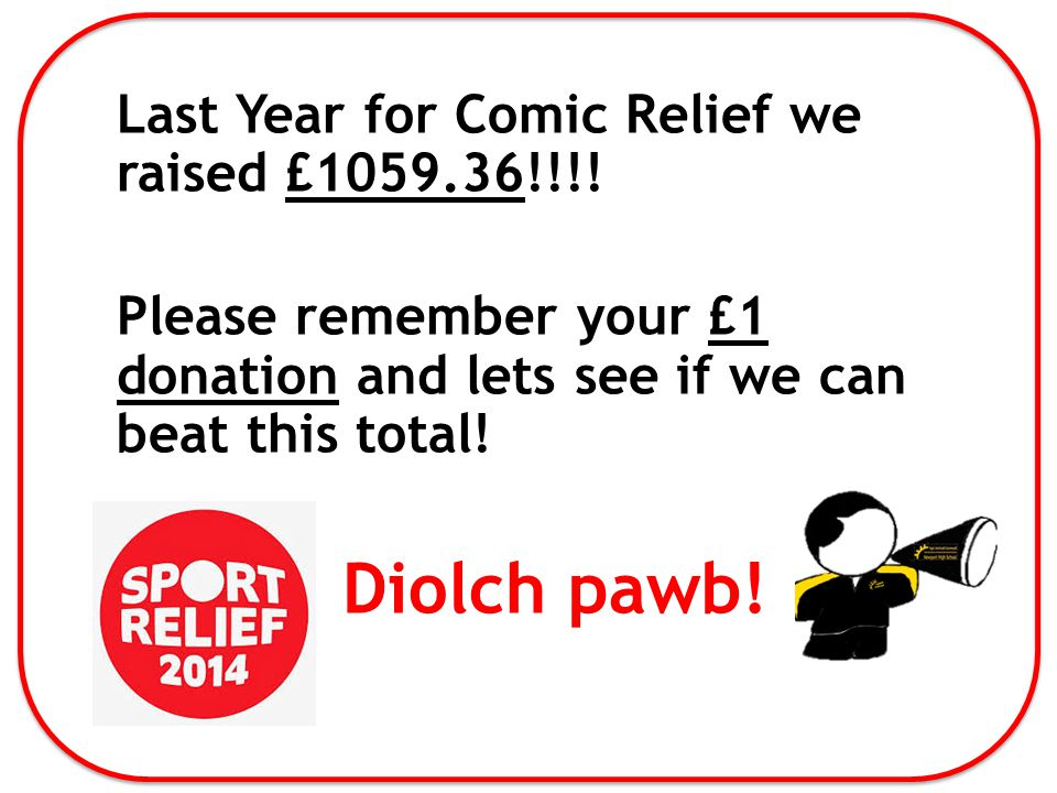 Last Year for Comic Relief we raised £1059.36!!!.