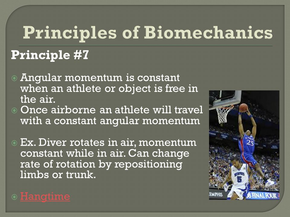 Principle #7 Angular momentum is constant when an athlete or object is free in the air. Once airborne an athlete will travel with a constant angular m