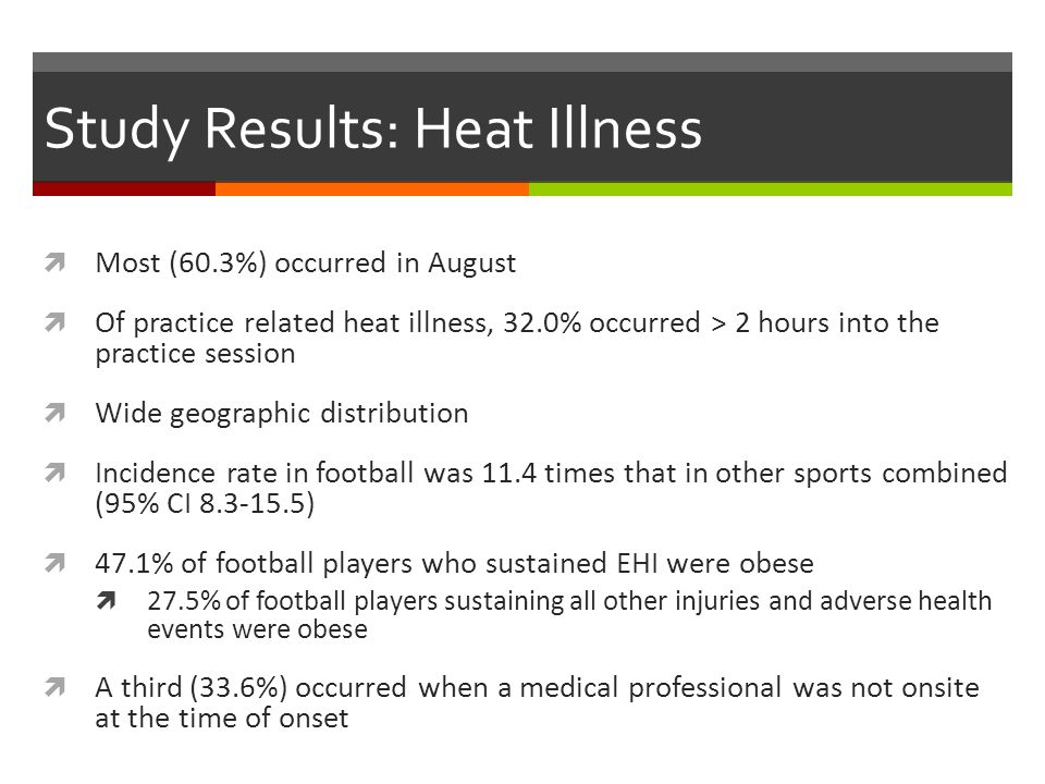 Study Results: Heat Illness Most (60.3%) occurred in August Of practice related heat illness, 32.0% occurred > 2 hours into the practice session Wide geographic distribution Incidence rate in football was 11.4 times that in other sports combined (95% CI 8.3-15.5) 47.1% of football players who sustained EHI were obese 27.5% of football players sustaining all other injuries and adverse health events were obese A third (33.6%) occurred when a medical professional was not onsite at the time of onset