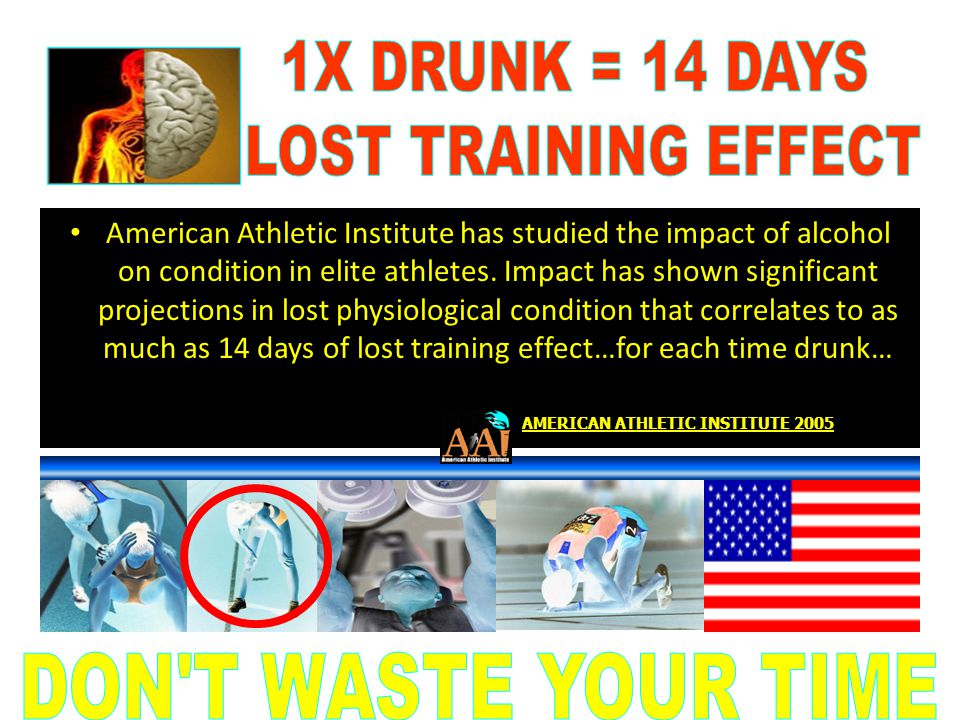 American Athletic Institute has studied the impact of alcohol on condition in elite athletes. Impact has shown significant projections in lost physiol