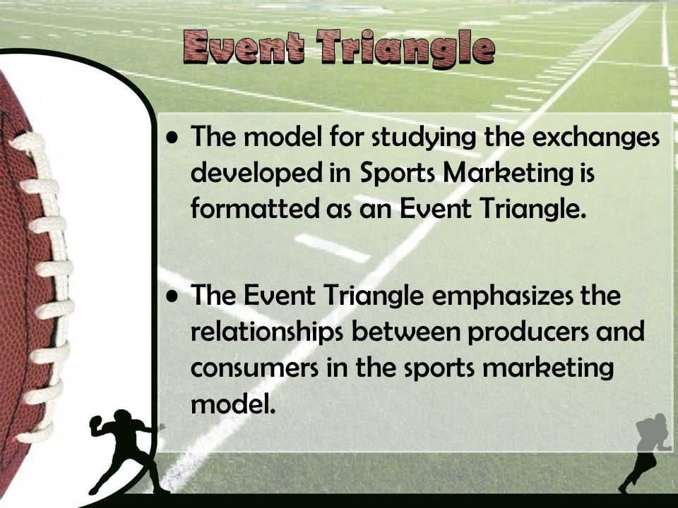 The model for studying the exchanges developed in Sports Marketing is formatted as an Event Triangle. The Event Triangle emphasizes the relationships