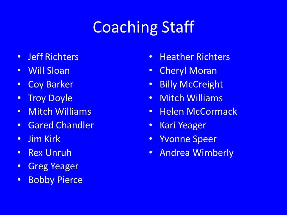 Coaching Staff Jeff Richters Will Sloan Coy Barker Troy Doyle Mitch Williams Gared Chandler Jim Kirk Rex Unruh Greg Yeager Bobby Pierce Heather Richte