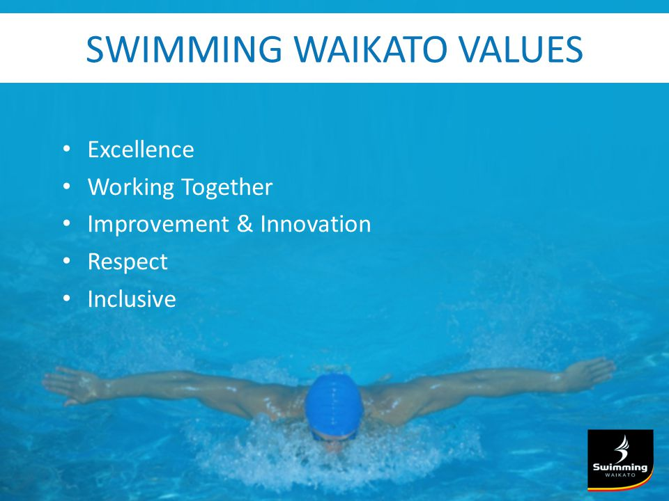 SWIMMING WAIKATO VALUES Excellence Working Together Improvement & Innovation Respect Inclusive