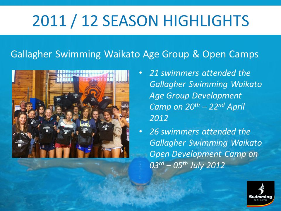 2011 / 12 SEASON HIGHLIGHTS Gallagher Swimming Waikato Age Group & Open Camps 21 swimmers attended the Gallagher Swimming Waikato Age Group Development Camp on 20 th – 22 nd April swimmers attended the Gallagher Swimming Waikato Open Development Camp on 03 rd – 05 th July 2012