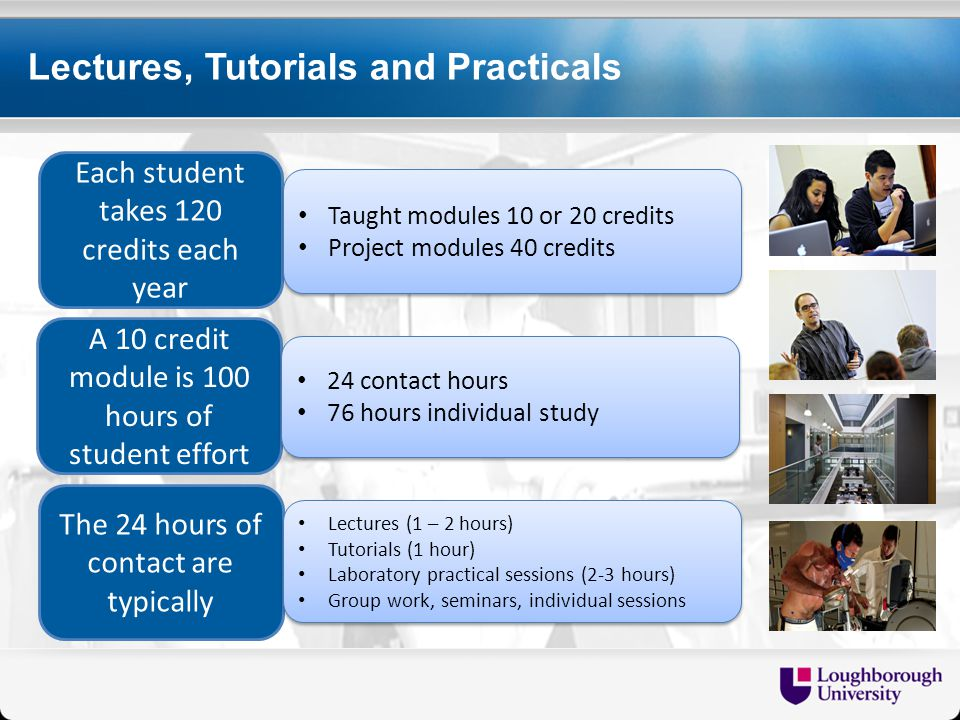 Lectures, Tutorials and Practicals Each student takes 120 credits each year A 10 credit module is 100 hours of student effort The 24 hours of contact are typically Taught modules 10 or 20 credits Project modules 40 credits Taught modules 10 or 20 credits Project modules 40 credits 24 contact hours 76 hours individual study 24 contact hours 76 hours individual study Lectures (1 – 2 hours) Tutorials (1 hour) Laboratory practical sessions (2-3 hours) Group work, seminars, individual sessions Lectures (1 – 2 hours) Tutorials (1 hour) Laboratory practical sessions (2-3 hours) Group work, seminars, individual sessions