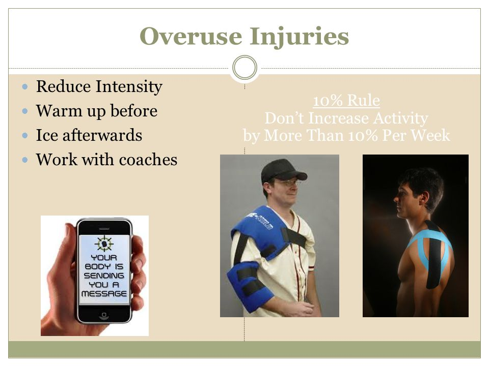 Overuse Injuries Reduce Intensity Warm up before Ice afterwards Work with coaches 10% Rule Dont Increase Activity by More Than 10% Per Week