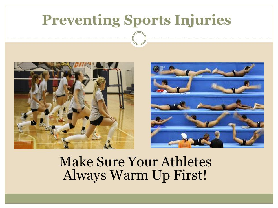 Make Sure Your Athletes Always Warm Up First! Preventing Sports Injuries