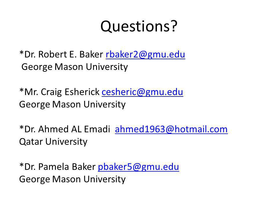 Questions.*Dr. Robert E. Baker rbaker2@gmu.edurbaker2@gmu.edu George Mason University *Mr.