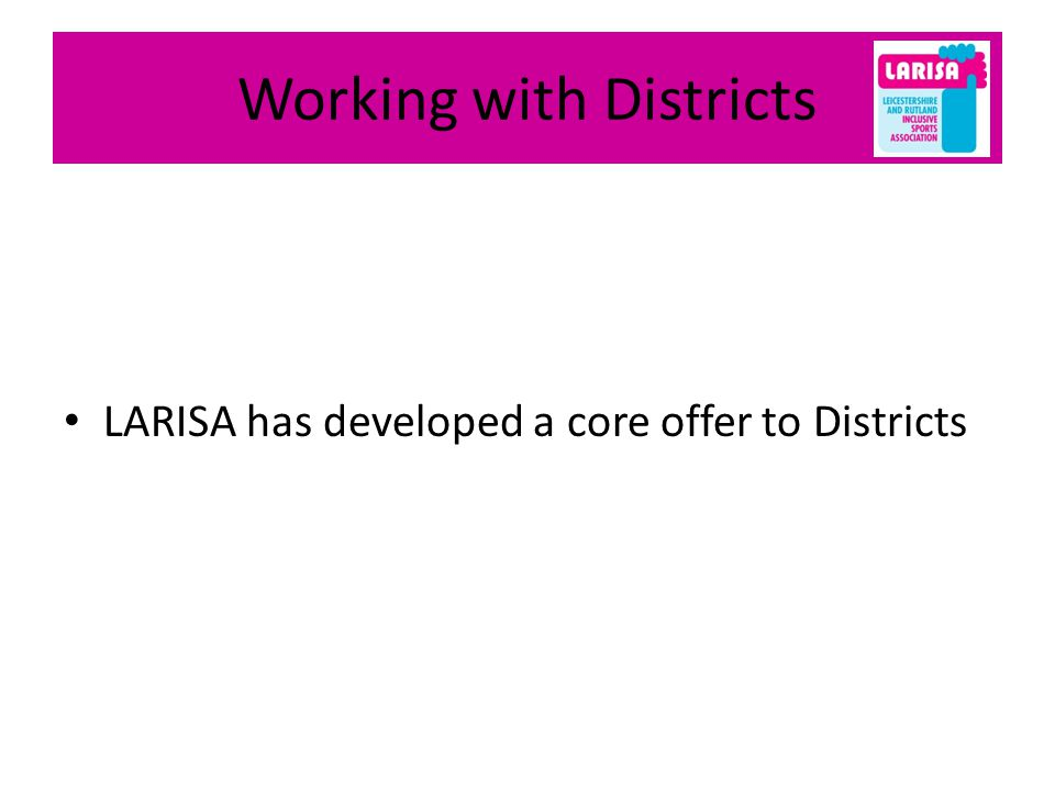 Working with Districts LARISA has developed a core offer to Districts