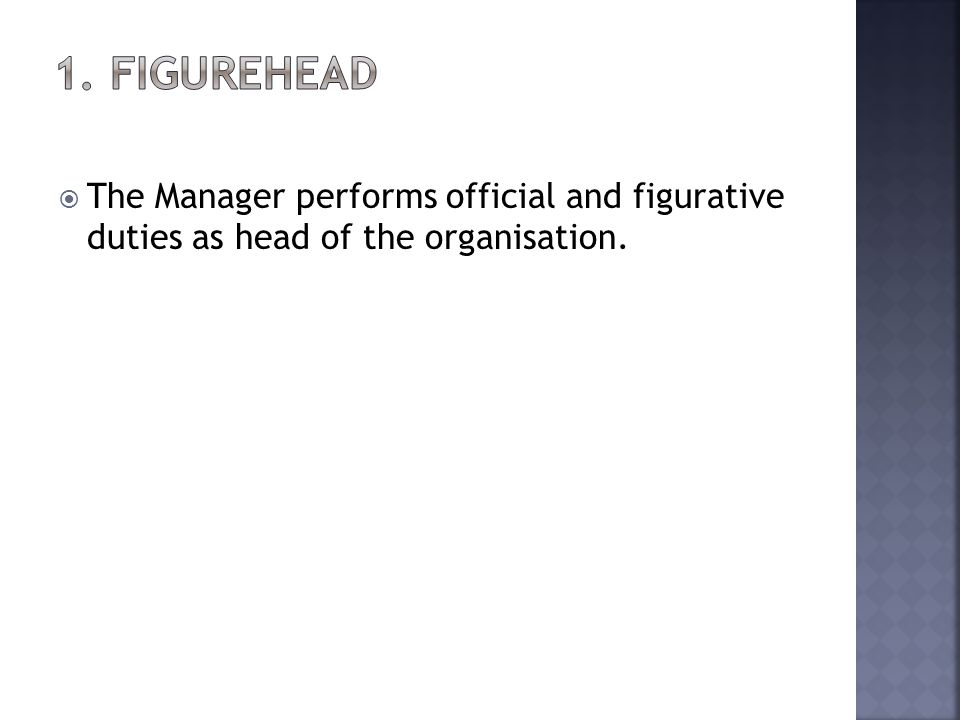 The Manager performs official and figurative duties as head of the organisation.