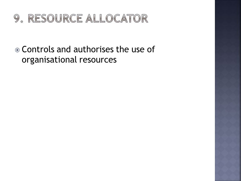 Controls and authorises the use of organisational resources