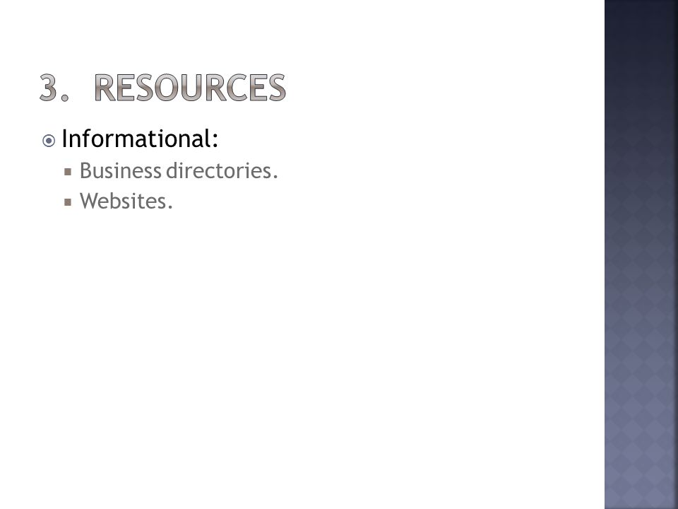 Informational: Business directories. Websites.