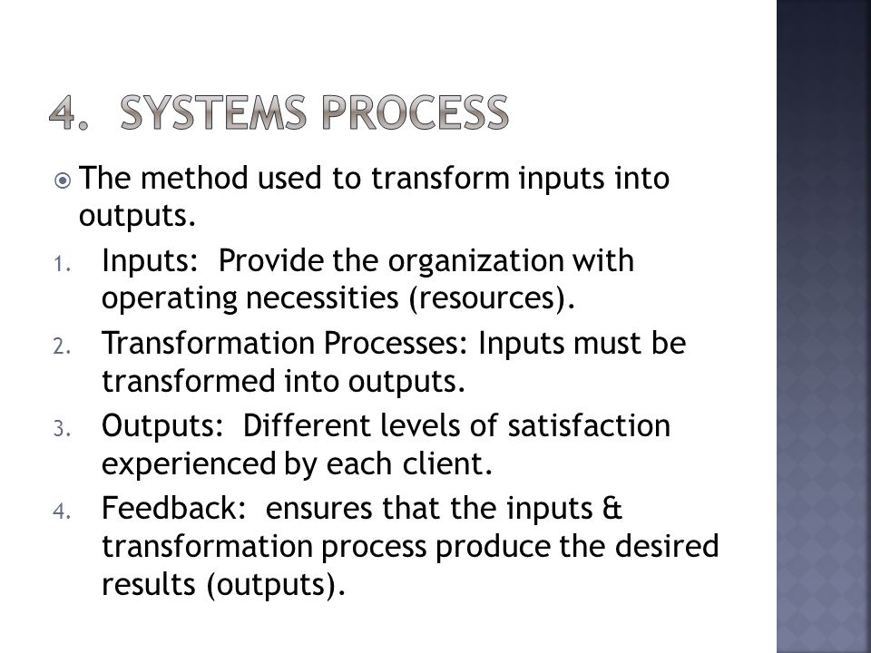 The method used to transform inputs into outputs. 1.
