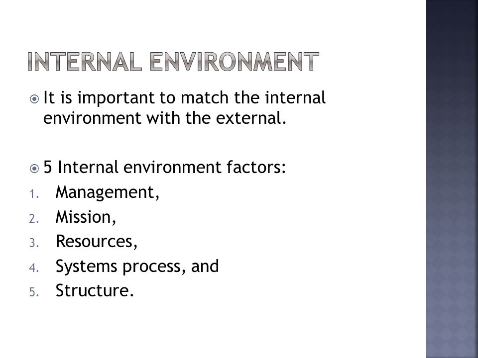 It is important to match the internal environment with the external. 5 Internal environment factors: 1. Management, 2. Mission, 3. Resources, 4. Syste