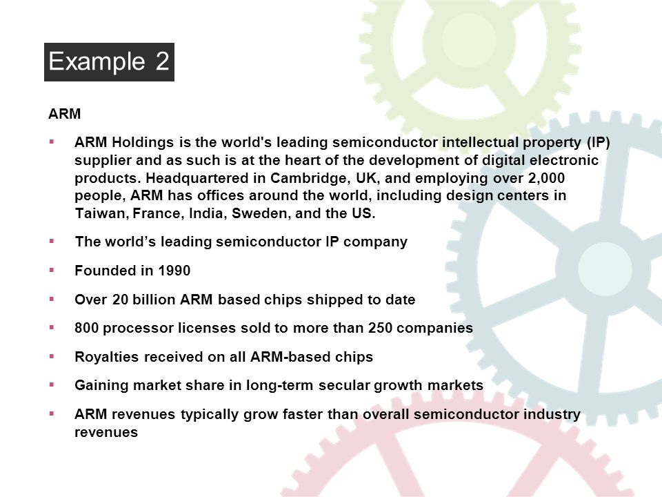 Example 2 ARM ARM Holdings is the world s leading semiconductor intellectual property (IP) supplier and as such is at the heart of the development of digital electronic products.