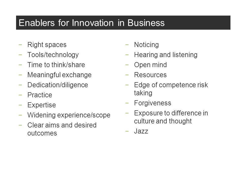 Enablers for Innovation in Business Right spaces Tools/technology Time to think/share Meaningful exchange Dedication/diligence Practice Expertise Widening experience/scope Clear aims and desired outcomes Noticing Hearing and listening Open mind Resources Edge of competence risk taking Forgiveness Exposure to difference in culture and thought Jazz