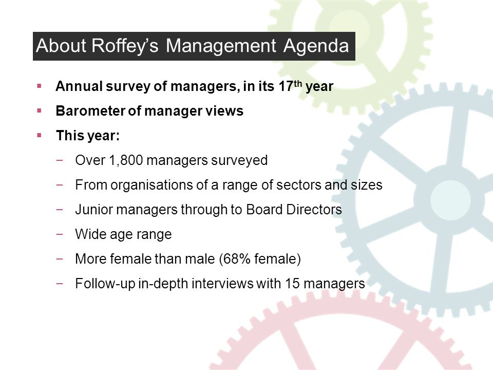 About Roffeys Management Agenda Annual survey of managers, in its 17 th year Barometer of manager views This year: Over 1,800 managers surveyed From organisations of a range of sectors and sizes Junior managers through to Board Directors Wide age range More female than male (68% female) Follow-up in-depth interviews with 15 managers
