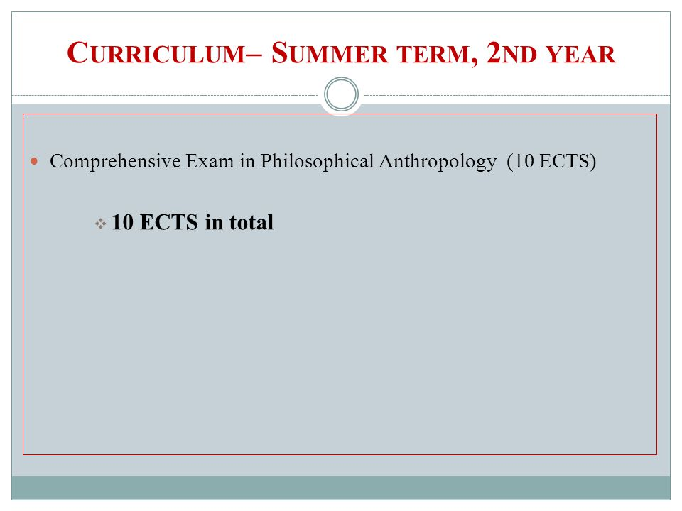 C URRICULUM – S UMMER TERM, 2 ND YEAR Comprehensive Exam in Philosophical Anthropology(10 ECTS) 10 ECTS in total
