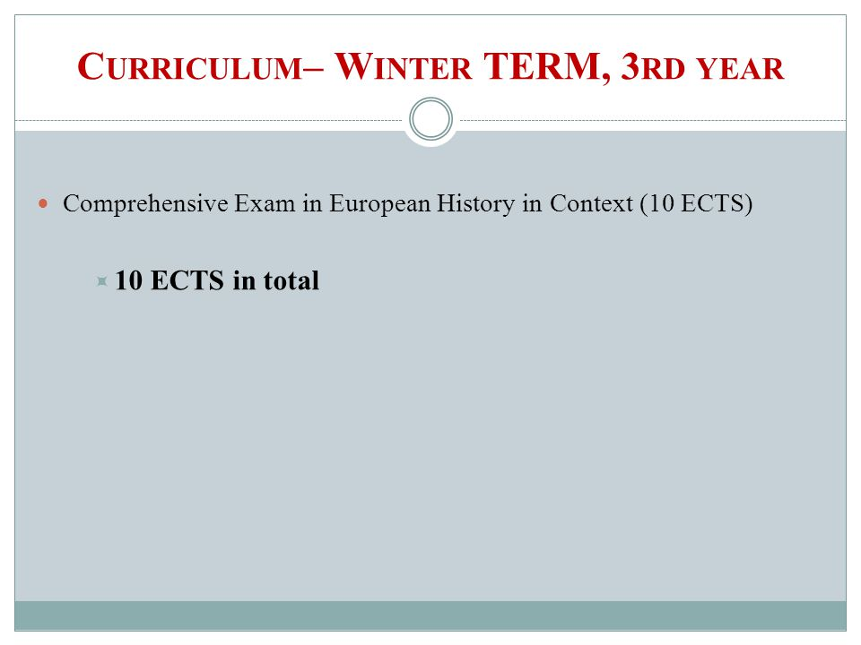 C URRICULUM – W INTER TERM, 3 RD YEAR Comprehensive Exam in European History in Context(10 ECTS) 10 ECTS in total
