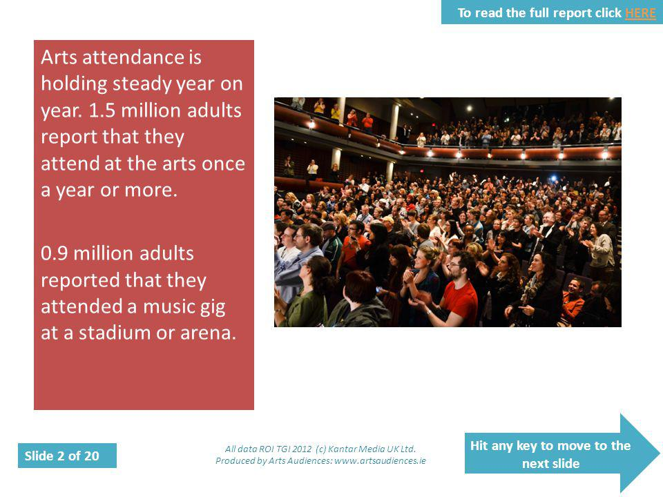 Hit any key to move to the next slide Slide 2 of 20 To read the full report click HEREHERE Arts attendance is holding steady year on year.