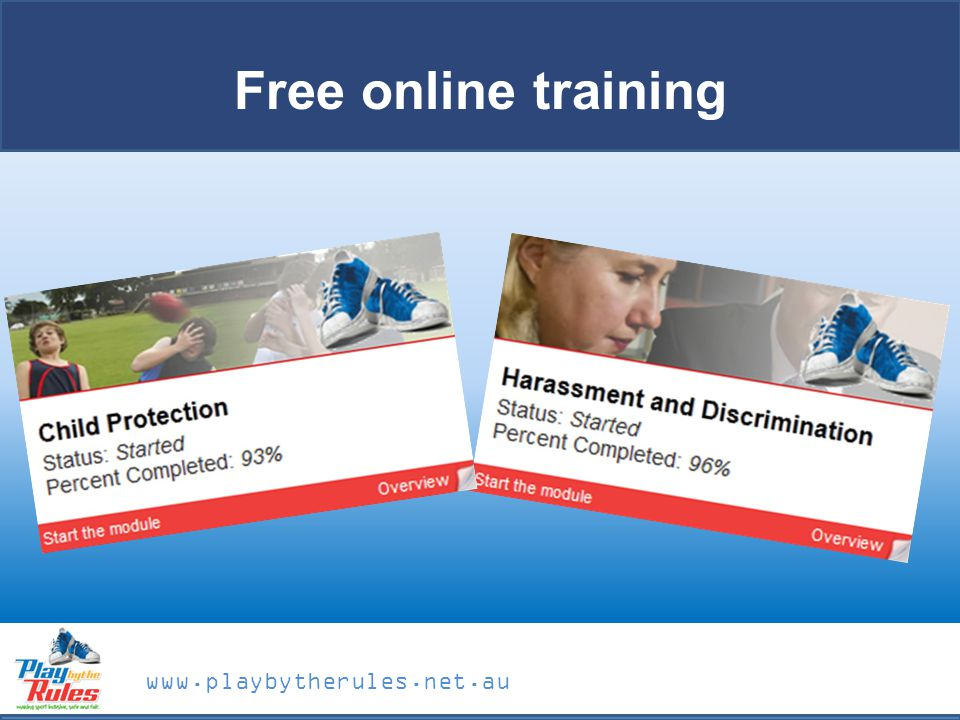 www.playbytherules.net.au Free online training
