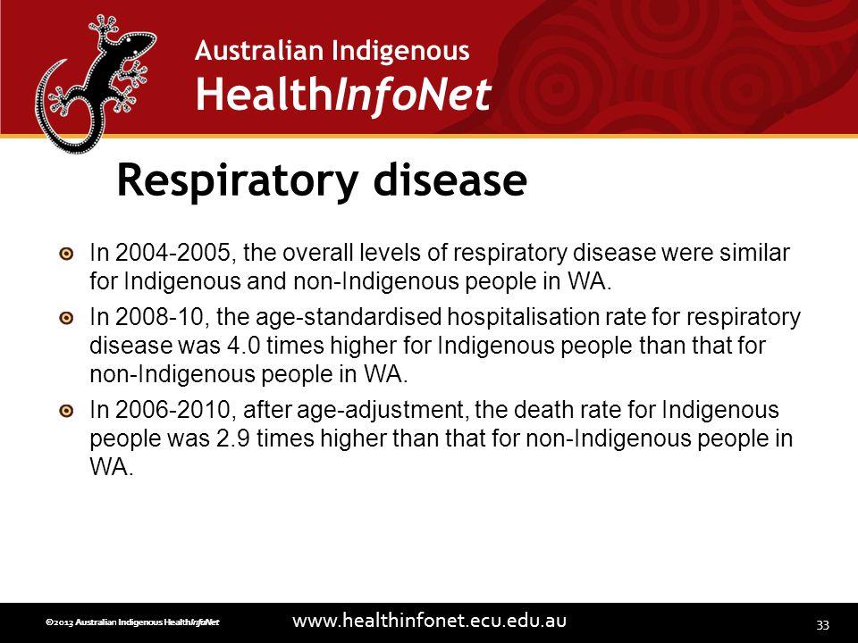 33 www.healthinfonet.ecu.edu.au Australian Indigenous HealthInfoNet ©2013 Australian Indigenous HealthInfoNet©2012 Australian Indigenous HealthInfoNet Respiratory disease In 2004-2005, the overall levels of respiratory disease were similar for Indigenous and non-Indigenous people in WA.