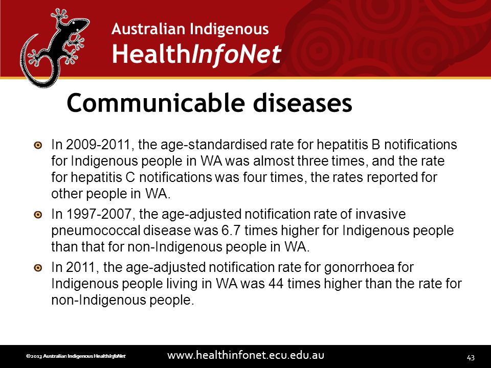 43 www.healthinfonet.ecu.edu.au Australian Indigenous HealthInfoNet ©2013 Australian Indigenous HealthInfoNet©2012 Australian Indigenous HealthInfoNet Communicable diseases In 2009-2011, the age-standardised rate for hepatitis B notifications for Indigenous people in WA was almost three times, and the rate for hepatitis C notifications was four times, the rates reported for other people in WA.