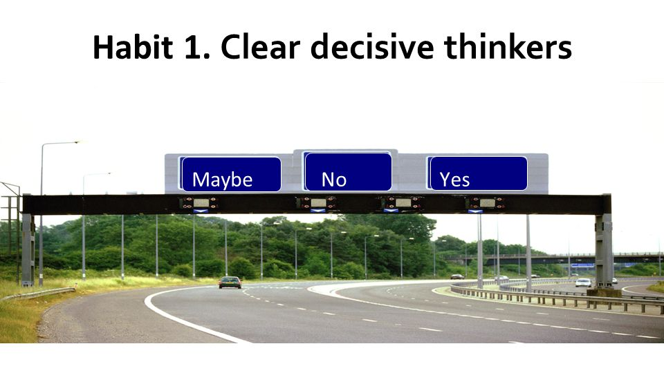 Habit 1. Clear decisive thinkers Maybe NoYes MaybeNoYes