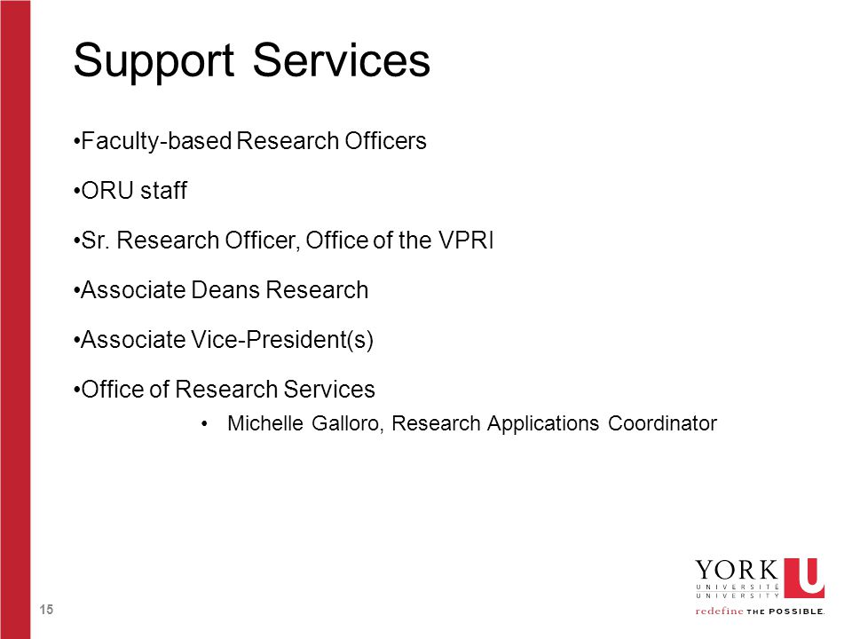 15 Support Services Faculty-based Research Officers ORU staff Sr. Research Officer, Office of the VPRI Associate Deans Research Associate Vice-Preside