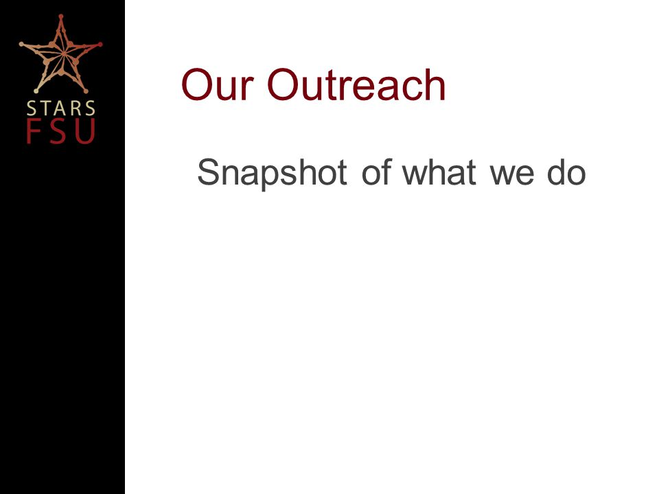 Our Outreach Snapshot of what we do