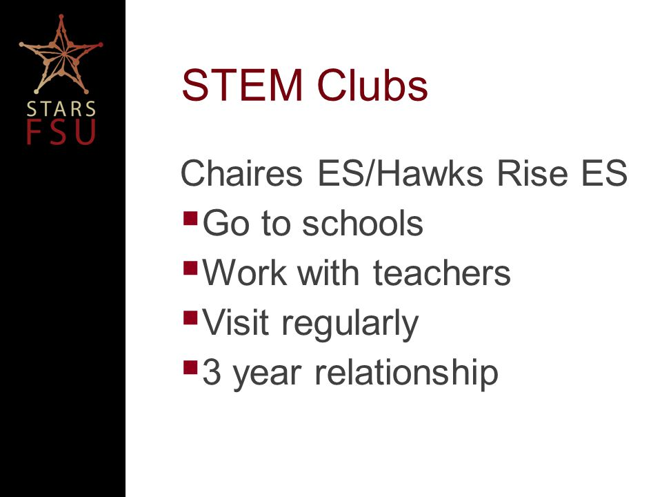 STEM Clubs Chaires ES/Hawks Rise ES Go to schools Work with teachers Visit regularly 3 year relationship