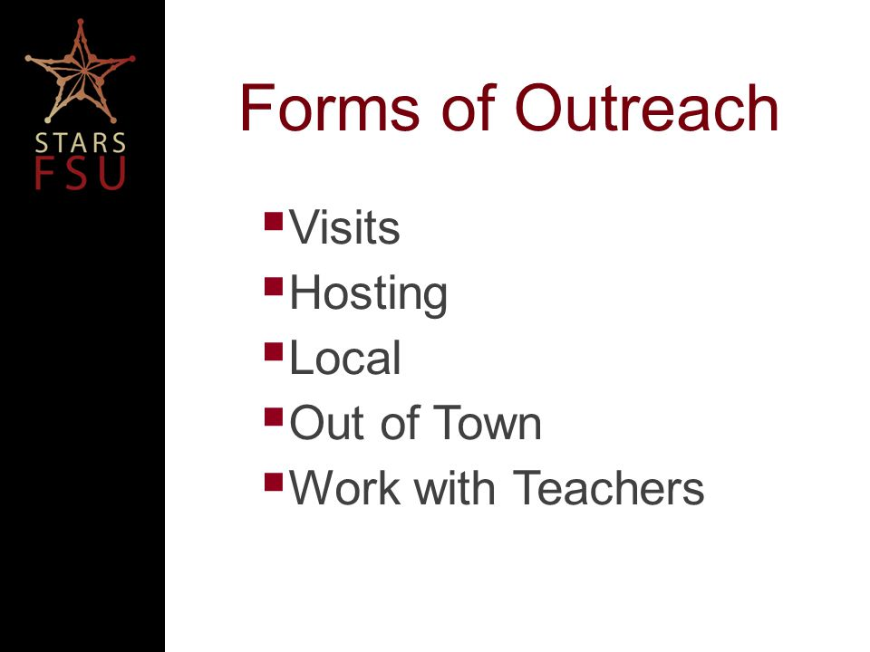 Forms of Outreach Visits Hosting Local Out of Town Work with Teachers