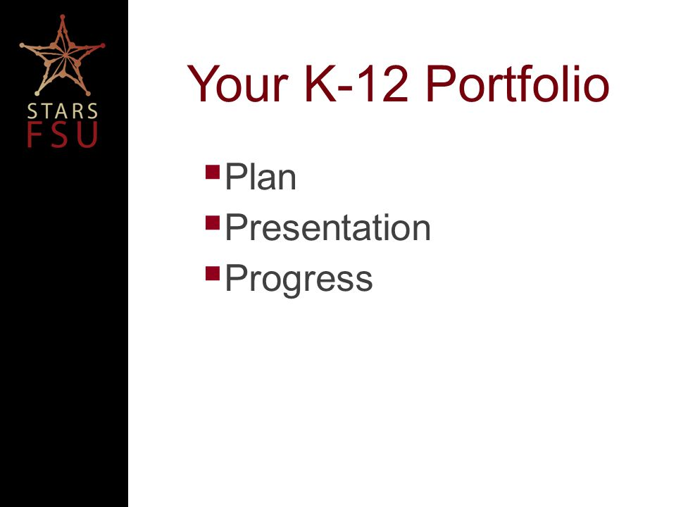 Your K-12 Portfolio Plan Presentation Progress