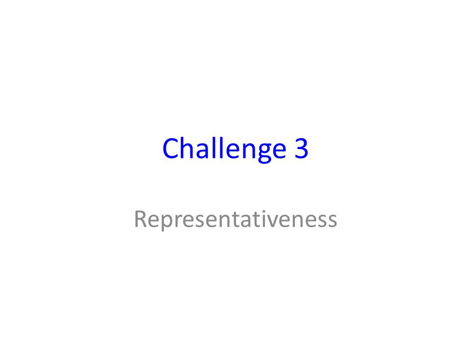 Challenge 3 Representativeness
