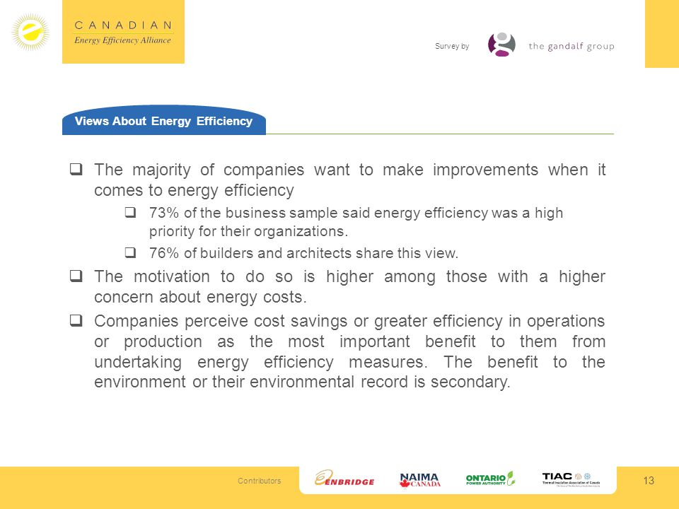 Contributors Survey by 13 Views About Energy Efficiency The majority of companies want to make improvements when it comes to energy efficiency 73% of the business sample said energy efficiency was a high priority for their organizations.