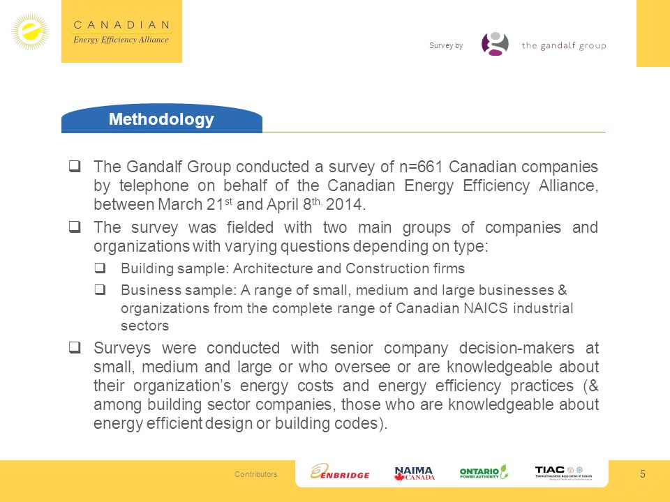 Contributors Survey by 5 Methodology The Gandalf Group conducted a survey of n=661 Canadian companies by telephone on behalf of the Canadian Energy Efficiency Alliance, between March 21 st and April 8 th, 2014.