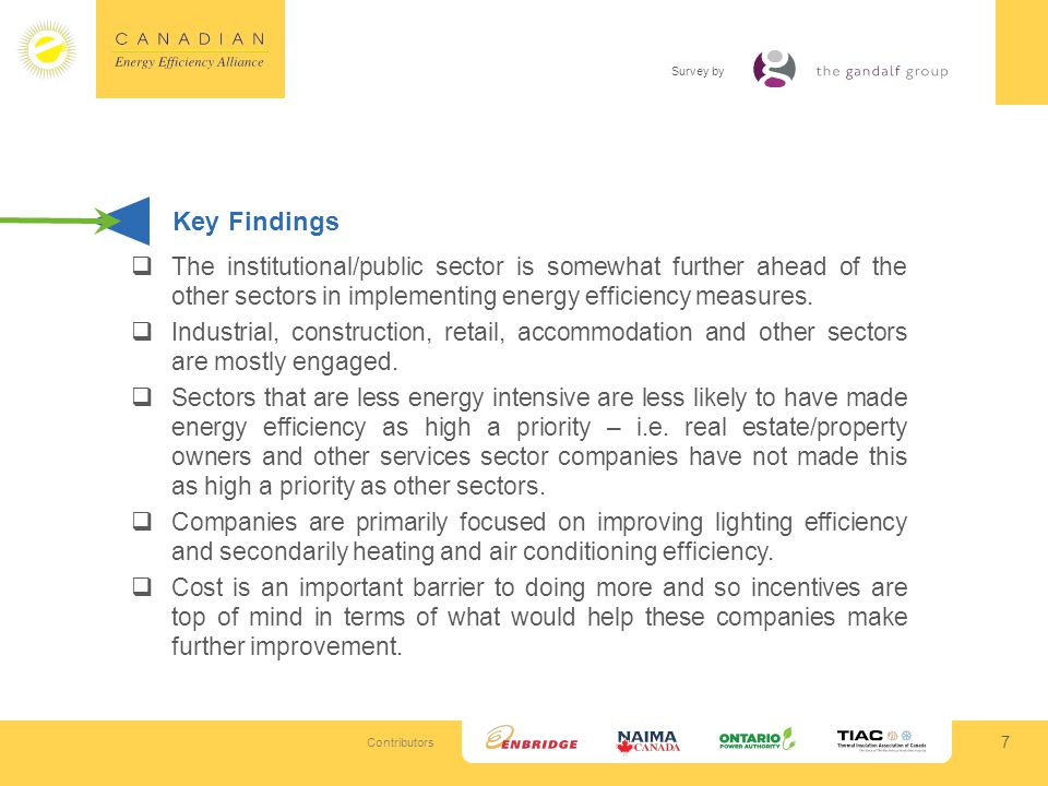 Contributors Survey by 7 Key Findings The institutional/public sector is somewhat further ahead of the other sectors in implementing energy efficiency measures.
