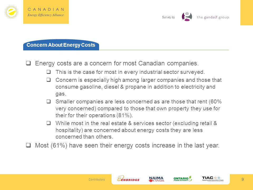 Contributors Survey by 30 What Companies Are Doing Those that have invested in energy savings with upfront costs have: Mostly invested in lighting & improved heating & air 26% replaced or upgraded equipment, appliances or trucks 14% engaged in building renovations 13% installed vehicle or equipment trackers and usage meters Very few have conducted energy efficiency audits, with the exception of the institutional/public sector (12% among them) As with upfront investments, initiatives that required no investment most commonly include lighting and heating or air; employee/customer engagement as another albeit secondary component for many.