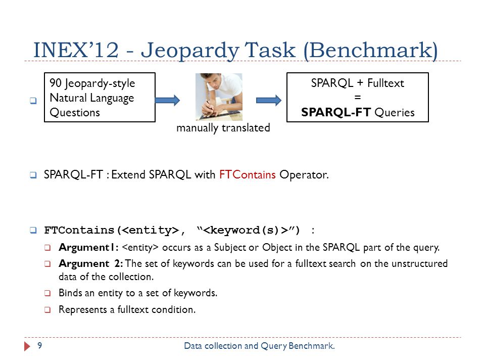 INEX12 - Jeopardy Task (Benchmark) SPARQL-FT : Extend SPARQL with FTContains Operator.
