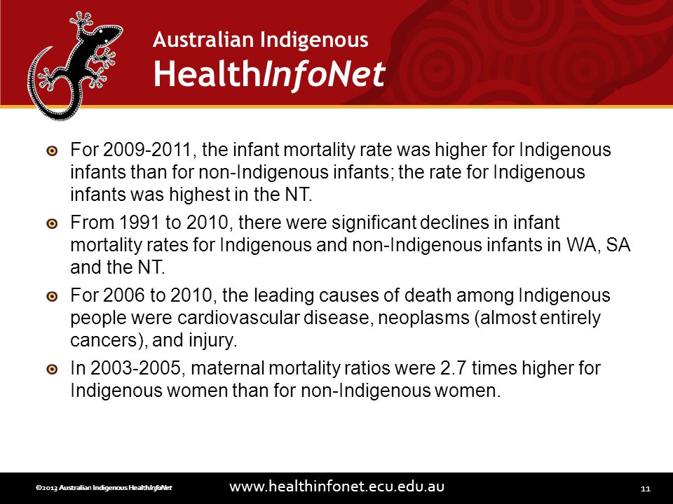 11 www.healthinfonet.ecu.edu.au Australian Indigenous HealthInfoNet ©2013 Australian Indigenous HealthInfoNet©2012 Australian Indigenous HealthInfoNet For 2009-2011, the infant mortality rate was higher for Indigenous infants than for non-Indigenous infants; the rate for Indigenous infants was highest in the NT.