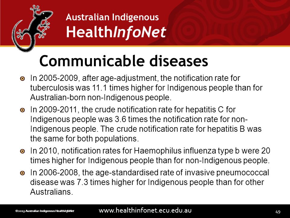 49 www.healthinfonet.ecu.edu.au Australian Indigenous HealthInfoNet ©2013 Australian Indigenous HealthInfoNet©2012 Australian Indigenous HealthInfoNet Communicable diseases In 2005-2009, after age-adjustment, the notification rate for tuberculosis was 11.1 times higher for Indigenous people than for Australian-born non-Indigenous people.