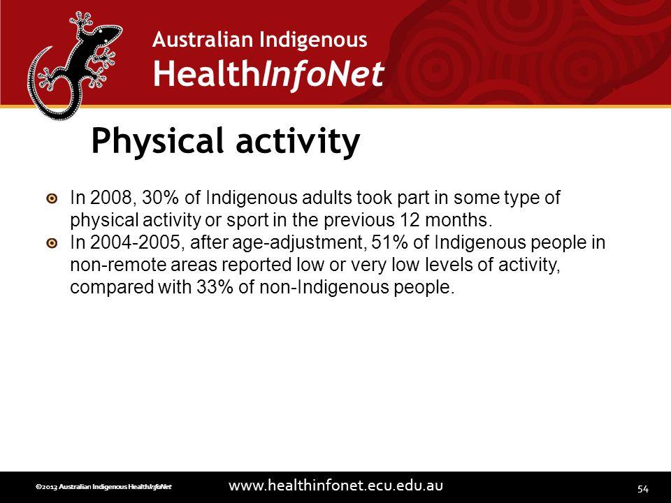 54 www.healthinfonet.ecu.edu.au Australian Indigenous HealthInfoNet ©2013 Australian Indigenous HealthInfoNet©2012 Australian Indigenous HealthInfoNet Physical activity In 2008, 30% of Indigenous adults took part in some type of physical activity or sport in the previous 12 months.