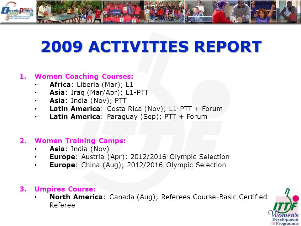 2009 ACTIVITIES REPORT 1.Women Coaching Courses: Africa: Liberia (Mar); L1 Asia: Iraq (Mar/Apr); L1-PTT Asia: India (Nov); PTT Latin America: Costa Rica (Nov); L1-PTT + Forum Latin America: Paraguay (Sep); PTT + Forum 2.Women Training Camps: Asia: India (Nov) Europe: Austria (Apr); 2012/2016 Olympic Selection Europe: China (Aug); 2012/2016 Olympic Selection 3.Umpires Course: North America: Canada (Aug); Referees Course-Basic Certified Referee
